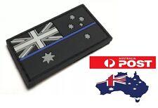 Thin Blue Line Rubber/PVC Patch Mini, Australian Flag, Police, Hook Rear