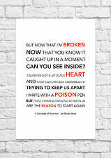 5 Seconds of Summer (5SOS) - Jet Black Heart - Song Lyric Art Poster - A4 Size
