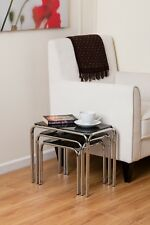 Set Of 3 Rectangle Nesting Tables with Black Glass Chrome Legs- GNT01B