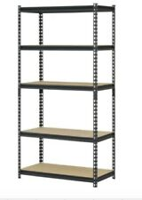 "Hart 36""Wx18""Dx72 34;H 5-Shelf Heavy Duty Steel Shelving Unit 4000 lb Capacity, Bla"