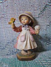 "Anri Sarah Kay Spring Beauty Wood Carved 4"" Figurine Limited Ed # 495 of 2000"