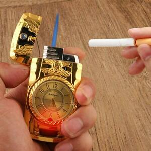 Jet Flame Gas Lighter With Torch Light Windproof Working Clock Christmas Gift UK