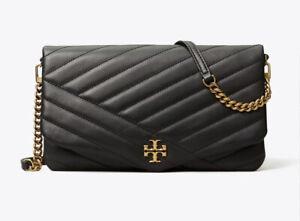 TORY BURCH KIRA CHEVRON CLUTCH SHOULDER BAG BLACK LEATHER NWT $328
