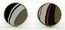 Fordite Cuff Links - Silver Base/20mm Round - Priced Per Pair  (20S1-004)