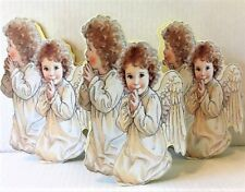 Vintage 3 Praying Angel Child Christmas Gift Boxes Kathy Lawrence Mint! Shackman