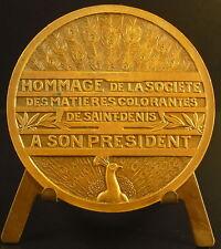 Medaille à Paul Bloch Président de la SMC matières colorantes paon peacock medal