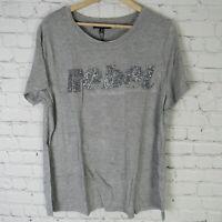 Rebel Wilson Shirt Womens 1X Gray Short Sleeve Graphic Plus Size