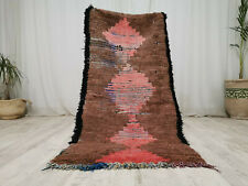 "Handmade Moroccan Vintage Carpet 3'x5'8"" Geometric Brown Red Berber Wool Rug"