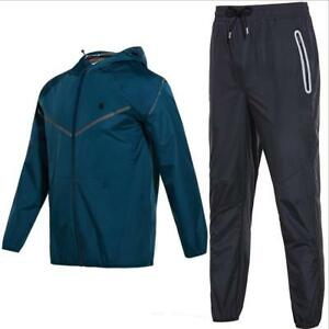 Men's Fitness Sweat Suits Hood Running Sports Clothes Weight Reduce Sauna Suits