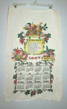 Vintage 1967 Kitchen Prayer Linen Cloth Fabric Calendar Towel