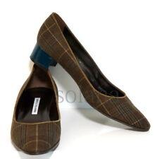 Manolo Blahnik Listony Brown Plaid Tweed Block Low-Heel Pumps New sz 12