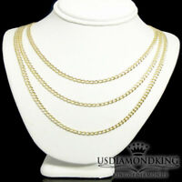 Men's New Real Genuine 14kt Yellow Solid Gold Cuban Curb Link Necklace Chain 4MM
