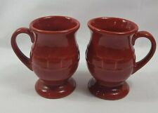 Set of 2 Longaberger Pottery Woven Traditions Paprika Red Latte Coffee Mug Cup
