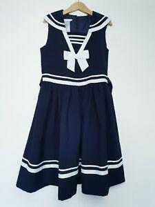 BONNIE JEAN navy blue sailor skater dress size 9-10 years