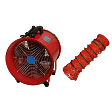 "Portable Industrial Ventilator Axial Blower Workshop Extractor Fan 12"" with Duct"