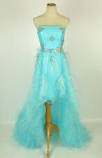 New Jovani 5841 Genuine BLUE High-Low Bridal Pageant Gown Prom Women Dress 2