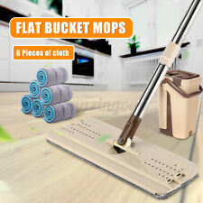 6 Pads Squeeze Mop And Bucket Hand Free Wringing Flat Floor Self Cleaning Mops