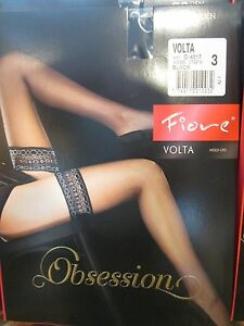 FIORE VOLTA  PATTERNED TOP HOLD UP STOCKINGS 3 SIZE FINE EUROPEAN HOSIERY BLACK