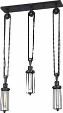 VINTAGE Industrial CHANDELIER BICYCLE CHAIN PENDANT 3 EDISON Bulbs Included