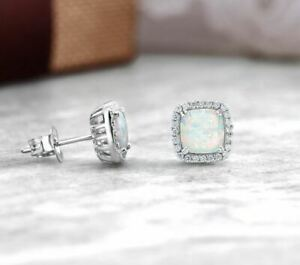 Amazing Fire Opal and White Topaz Halo Sqaure Stud Earrings 925 Sterling Silver