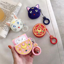 Sailor Moon Badge Airpods Case Luna Cat  Soft Cover for Apple Bluetooth Earphone