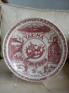 Vintage Vernon Kilns Yakima Washington Fruit Bowl of the Nation Plate Red