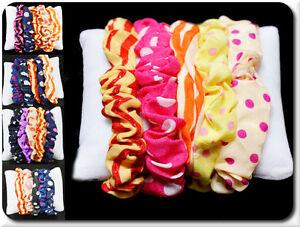Set 5 Mini Hair Tie Baby Hairband Ponytail Elastics Scrunchie Fabric Dot Punkt