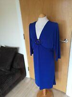 Ladies ATTITUDES Dress Size L 16 Blue Stretch Smart Party Evening Wedding