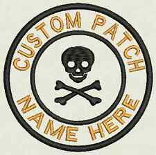 Skull Custom Embroidered Tag, Patch, Badge Iron On or Sew On - 3.50""