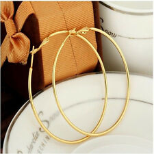 2016 Ladies Vogue Smooth 14K Gold Filled Womens Hoop Earrings Fashion Jewelry V