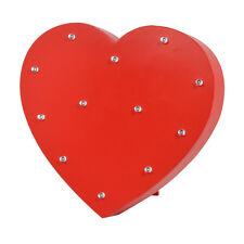 Rojo corazón iluminado LED luz Bloque de Madera Idea regalo de Día de San Valentín