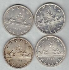 FOUR CANADA SILVER DOLLARS 1960/1963/1965 & 1966 IN NEAR MINT CONDITION