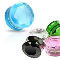 """PAIR Faceted Pyrex Glass Plugs Black,Pink,Clear,Green,Aqua 0g,00g,1/2,9/16,5/8"""""""