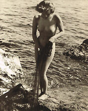1930s Vintage John Everard Outdoor Female Nude Water Photogravure Photo Print