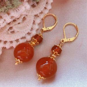 Elegant Natural Red Agate Pearl Earrings Ping Buckle 18K Freshwater Halloween