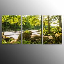 FRAMED HD Wall Canvas Art Print Small Brook Home Office Canvas Painting-3pcs
