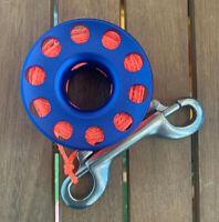 Scuba Diving 15m Aluminium Finger Spool Reel Blue with Double Snap Bolt