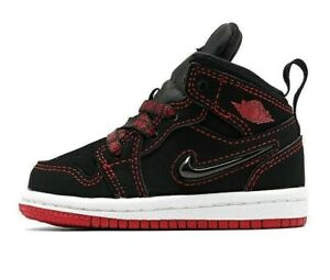 Nike Jordan 1 Mid Fearless TD Baby Shoes CU6619-062 Black Red White NEW IN BOX