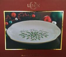 LENOX~HOLIDAY~BLESS THIS HOME~HOLLY CHINA TRAY/PLATE~GOLD TRIM~NEW~ORIGINAL BOX
