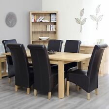 Arden solid oak furniture extending dining table with six brown chairs