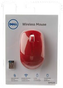 Latest Dell WM126 Wireless Optical Mouse Red Best For Computer Laptop windows