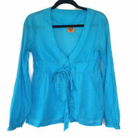 Tory Burch Womens Blue Tie Front Top Long Sleeve V Neck Cotton Blouse Size 6