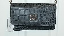New Jessica Simpson Gray Croc Embossed Cross body Purse