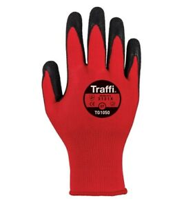 TraffiGlove TG1050 Centric Cut A/1 Red Gloves Size 7,8,9,10,11 (Pack of 10)