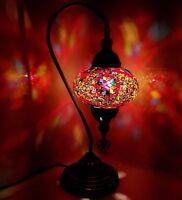 Handmade Turkish Moroccan Large Colourful Lamp Light Glass Mosaic Desk Table
