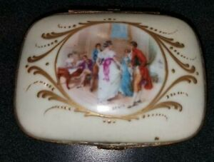 Antique French Jewelry Box, Gilt Bronze Porcelain. 'ANURE' HAND PAINTED