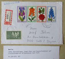 1976 Gartenblumen Marken Satz auf Einschreiben Brief ab Wildeshausen R-Zettel
