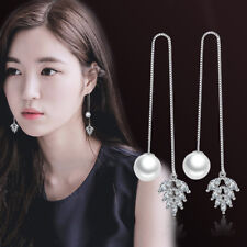 Real 925 Silver Women Crystal Zircon Leaf Pearl Long Ear Line Earrings Jewelry