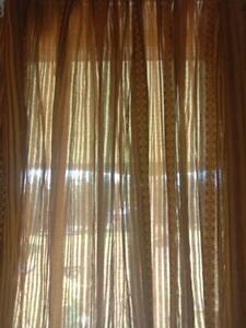 """Vintage 1970's Retro Choc & Toffee Patterned CURTAINS """"PAIR"""" 110 by 139.5 cm"""