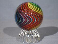 "Marbles: Hand Made Art Glass Alloway Dichroic ""Rainbow Swirl"" #151   2.68inch"